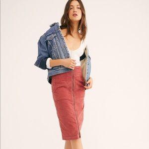 Free People Poppy Red Midi Skirt